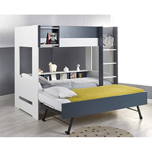 Alfred & Cie Magnus - Pack litera + cama nido plegable (plegable), color blanco y azul