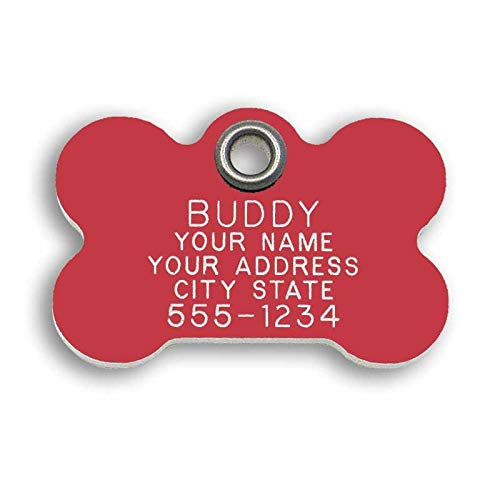 LuckyPet Pet ID Tag - Red Plastic Bone - Custom Engraved Metal Dog ID Tags - Engraved on Front, Reflective on Back - Size: Medium