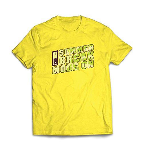 Camisetas Hombre Vacaciones de Verano - Modo Encendido, Trajes Vacaciones de Vacaciones, Citas de Viajes (X-Large Amarillo Multicolor)