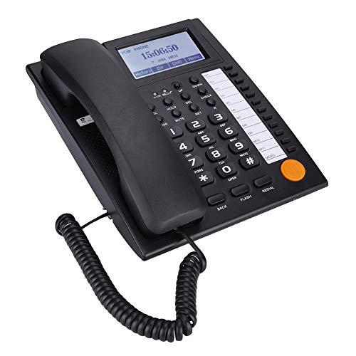 Diyeeni Schnurgebundenes Telefon mit Große LCD Anzeige, Digtal Festnetztelefon, Große Tasten, Flexibler Freisprechfunktion und Direktruf, Ideal für Business Büro Zuhause Schwarz/Weiß(Schwarz)