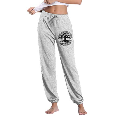 HRiu66@ Workout Leggings for Womens, Casual Celtic Tree Knots Cotton Sweatpants Gray