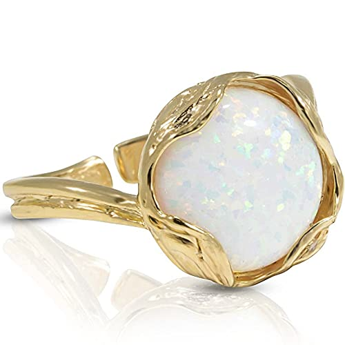14k Gold Plated Sterling Silver White Opal Sizable Ring For Women; Vintage Style Gold Plated Opal October Birthstone Sizable Ring That Is Perfect For Engagement or Promise Sizable Ring