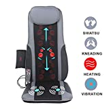 Sotion Shiatsu Chair Massager Back Massage Cushion Pad with Heat, Deep Kneading Rolling Vibration Massage Seat Cushion Relief Pain and Fatigue from Back, Lumbar, Highs