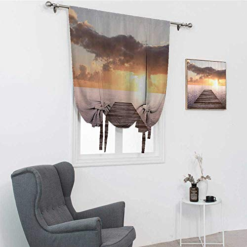 GugeABC House Decor Collection Roman Blind, Sunset Photo from Old Wooden Pier Deck Over The Sea Horizon Clouds by The Ocean Art Window Shades for Home, Yellow Blue Brown, 39