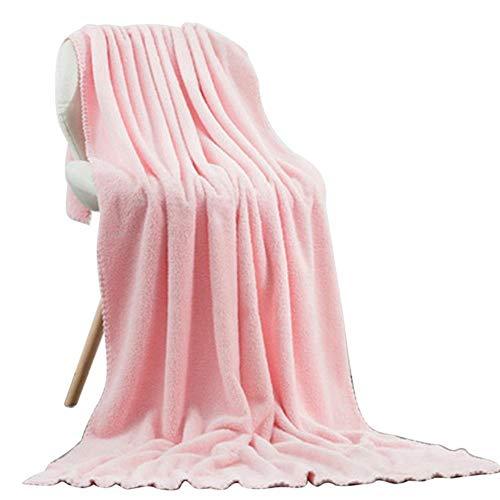 LASISZ 180 * 90 cm Thicken Microfiber Coral Velvet Dry Hair Towel Soft Super Absorbent Gym Yoga Adult Shower Quick-Dry Face Towel,Pink