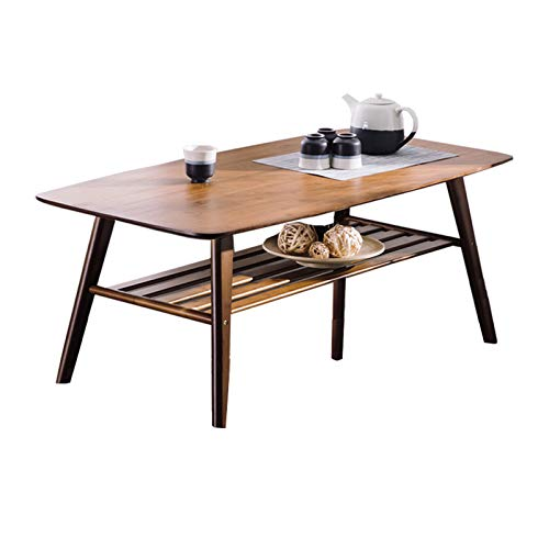 Mesa de Café Mesa de Salón Centro de bambú natural Mesa de Doble Capa Tabla Mesa de Final de la sala Mesa lateral Bajo rack de almacenamiento de muebles y decoración Mesas Laterales ( Color : Brown )