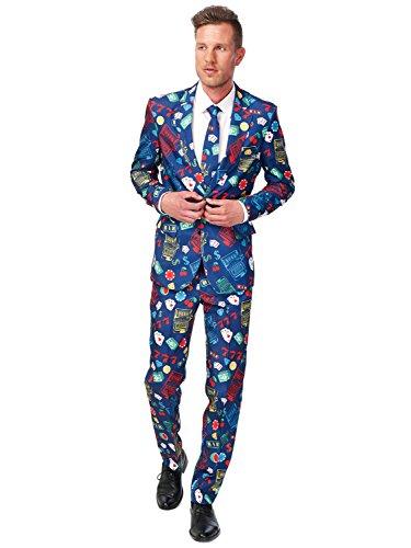 Suitmeister Men Suit Ensemble de Pantalon de Costume d'affaires, Casino Slot Machine, M Homme