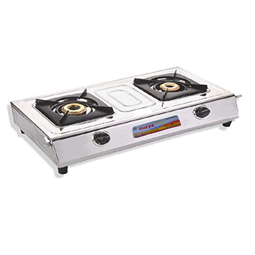 Sun Surya Stainless Steel 2 Burner Gas Stove with 6 Months Warranty