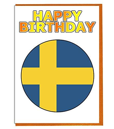 Zweden Vlag - Verjaardagskaart - Vriend - Familie - Collega - Mate - Boss - Loved One