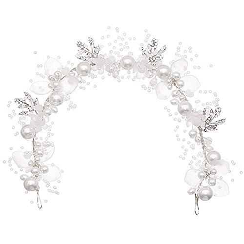 Froiny Mode Perle Stirnband Braut Hochzeit Krone Haar Zubehör Haarband Tiara Kristall Kopfschmuck Haarschmuck
