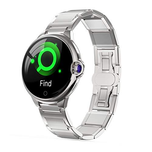 WMWX Reloj Inteligente Bluetooth Multifuncional, Reloj de Espejo de Cristal de Zafiro con Espejo Doble Curvado, Reloj Deportivo con Pantalla Redonda Impermeable IP67,B