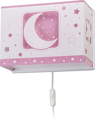 Dalber Moon Light Lámpara Aplique Pared infantil Luna y Estrellas Moonlight gris Rosa, 60 W