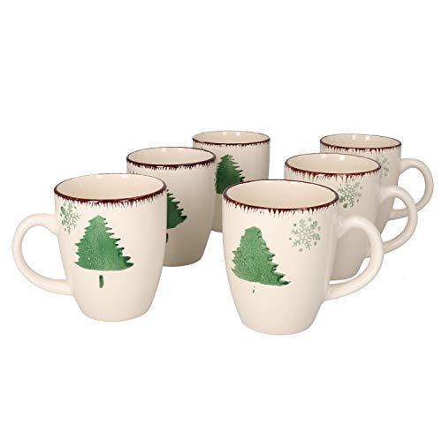 MamboCat 6-er Kaffee-Becher-Set Schneeflocken & Tannenbaum I Weihnachten I weihnachtlich verzierte Steingut-Tasse groß I große Jumbo-Tee-Tasse - Tea & Coffee Mug I 300 ml Weihnachts-Tassen-Set 6 St.