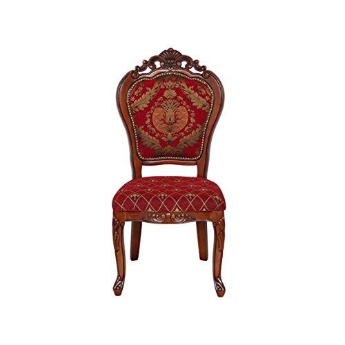 KING Barockstuhl Louis Chic Barock Stuhl Sessel Essstischstuhl Holz ohne Arm braun/rot Gemustert