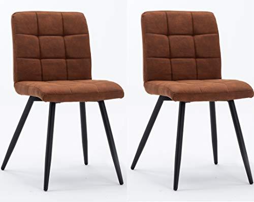 Hnnhome - Set di 2 sedie imbottite Cubana da cucina, sala da pranzo e salotto, in morbido velluto, per ricevimenti, pub e ristoranti, con forti gambe in metallo nero