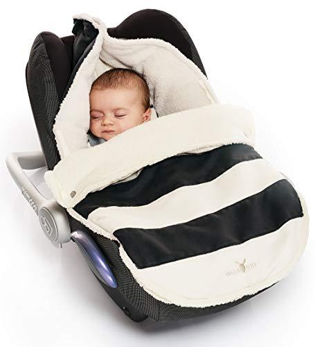 Wallaboo Fußsack, 0-12 Monaten, Universal für Babyschale, Autositz, z.B. für Maxi-Cosi, Römer, für Kinderwagen, Buggy oder Babybett, Farbe: Getreift Schwarz