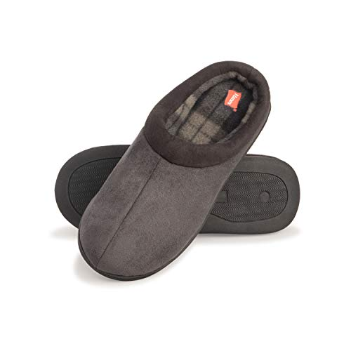Hanes Men's Comfort Memory Foam Slip on Clog House Shoes with Indoor/Outdoor Anti-Skid Sole (Grey, Size Large)