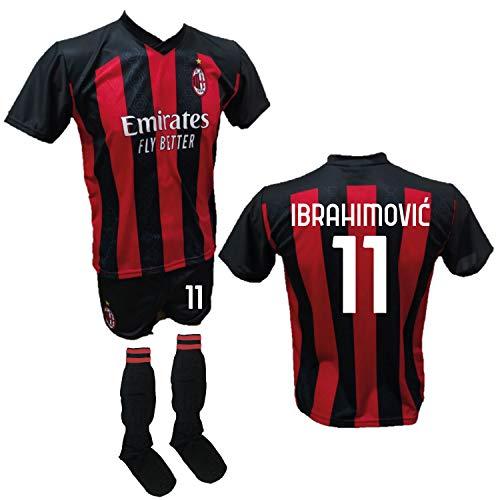 DND Di D'Andolfo Ciro Fußballtrikot Zlatan Ibrahimovic Milan, Shorts mit Nummer 11, bedruckt und zugelassene Stutzen 2020-2021, Größen für Kinder und Erwachsene, rot, 12 Jahre