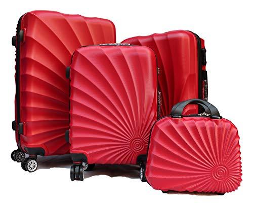 R.Leone Valigia da 1 pezzo Fino a Set 4 Trolley Rigido grande, medio, bagaglio a mano e beauty case 4 ruote in ABS 2092 (Rosso, Set XS S M L)