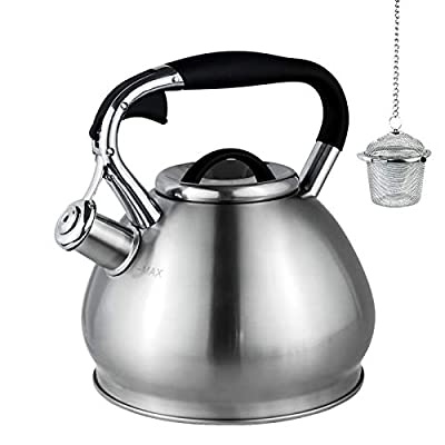 Whistling Tea Kettles Stovetop with Boils Faster Bottom,Surgical Brushed Stainless Steel Finish Whistling Teapot, 3 Quart,1YR Warranty, 1 Tea Maker Infuser Included by Kmatee