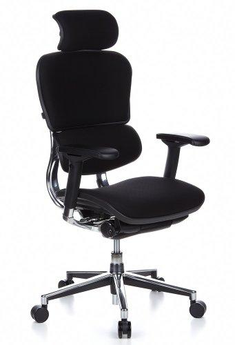 hjh OFFICE 652610 silla de oficina ERGOHUMAN tejido negro, sólido aluminio pulido, ergonómico, sillón alta gama