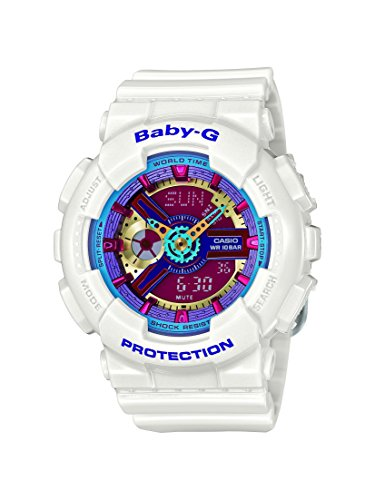 Casio Women's Baby G Quartz 100M WR Shock Resistant Resin Color: White with Multi Color Face (Model BA-112-7ACR)
