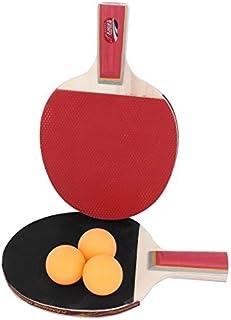 eDealMax Poignée en Bois de ping-Pong loisirs Tennis de Table Racket paire avec Boules