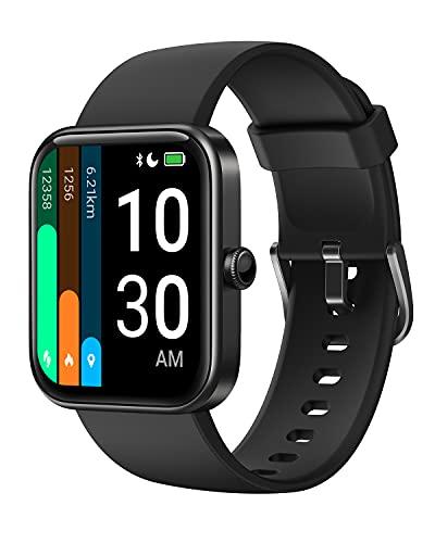 YAMAY Smartwatch Donna Uomo con Saturimetro Alexa Integrata Orologio Fitness Android iOS Contapassi Cardiofrequenzimetro, Sfondo Personalizzato, Modalità Nuoto, Gestire la Musica, GPS Condiviso, Meteo
