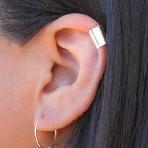 Sterling Silver Wide Helix Ear Cuff Earring. Wrap around Earring.