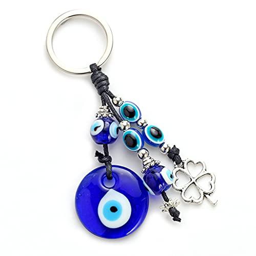JIUYECAO Llavero con colgante de ojo del diablo, con diseño de trébol de cuatro hojas, azul turco con diseño de ojo malvado