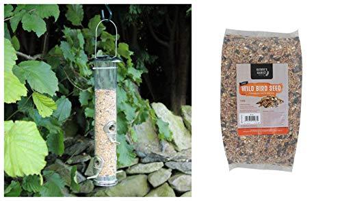 garden mile Large Deluxe Seed Bird Feeder with 1kg Bag of Bird Feed Seed Hanging Bird Nut Seeds Bird Feeder Outdoor Garden Patio Wild Birds Wildlife Food