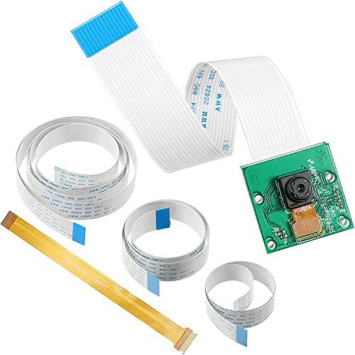 1 Piece 5 Megapixels 1080p Sensor OV5647 Mini Webcam, 1 Piece Camera Module and 5 Flexible Ribbon Cables 6/ 11.8/ 19.69/ 39.37 Inch Flexible Ribbon for Pi 4, 6.3 Inch Compatible with Raspberry Pi Zero