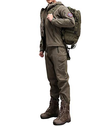YuanDian Herren Herbst Winter Taktische Camouflage Jacke Und Hose 2 Stück Set Outdoor Wandern Jagd Wasserdicht Winddicht Trekking Militär Combat Fleece Softshell Mäntel Und Hosen Armee M