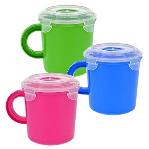 SureFresh Plastic Soup Mugs with Clip-Lock Lids, 3-ct Set