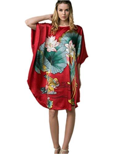 prettystern 100% Seide Damen Nachtkleid Nachthemd mit Handbemalter Chinesischer Malerei Ybs202 Rot Seerosen Und Enten
