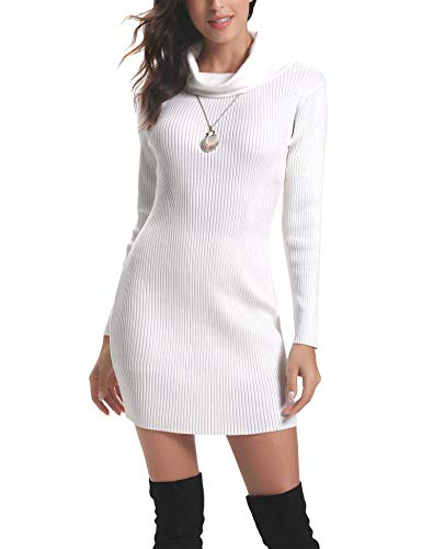 Aibrou Vestido a Punto Cuello Alto para Mujer,Vestido de Jerséy Elegante Clásico Ajustado,Sexy Sueter Falda de Cadera,Primavera, Otoño, Invierno Blanco XL