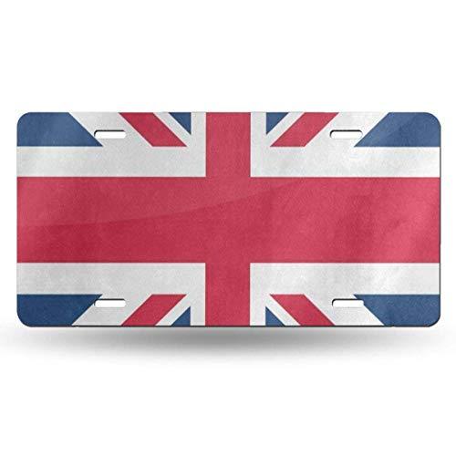 FunnyCustom License Plate Frame Vintage Union Jack British Flag Amazing Aluminum Metal Tag Holder Waterproof Decoration 12 x 6 Inch