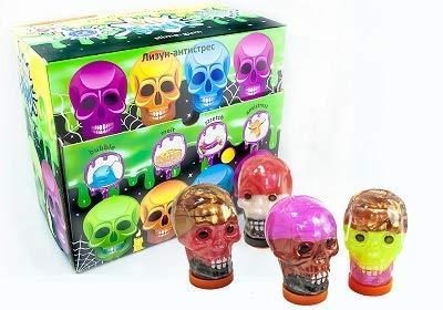Pasta de arcilla moldeable con forma de cráneo, 4 unidades de 100 g, 80039 para niños, regalo de cumpleaños, juego mágico, antiestrés, DIY, juguete sensorial
