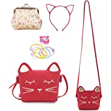 Delphinus Cute Cat Crossbody Bag, 4Pack Little Girls Purses Cute Cat Bag with 1 Mini Coin Purse Cat Headband and Elastic Hair Ties (red)