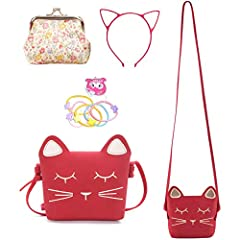 🐱Cat Bag Material: made of PU leather, which is soft and easy for you to clean, not easy to break; Earrings material: consist of alloy, crystal plastic and silicone, which is safe and will not bring allergies to kids' skin 🐱Suitable size: The little ...