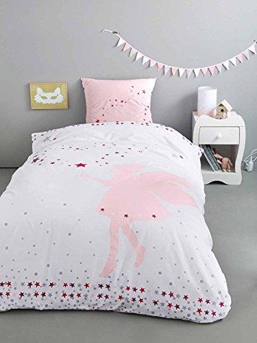 Vertbaudet Mädchenbettwäsche Kleine Fee weiß Bedruckt 140X150 - Kissen 63X63