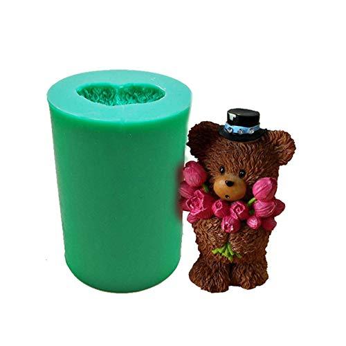 househome Molde de silicona con forma de oso de peluche, para tartas, fondant, chocolate, hecho a mano, jabón hecho a mano, molde de silicona para moldear (colores aleatorios)
