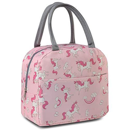 Kasgo Lunchtasche Kinder, Isoliert Jungen Mädchen Kühltasche Thermal Lunch Tasche Damen mit Fronttasche Lunchpaket für Schule Picknick Arbeit in Schönen Einhorn