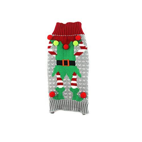 Dr.JIEER Vestiti di Maglieria Invernale per Cani e Gatti Cuccioli di Maglia di Renna di Natale - Taglia XS (Gray Elf)