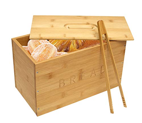 Traditional Wooden Bread Bin with Bread clip Bamboo Bread Bins Crock Holder Storage for Large Bread for Kitchen (Need self-assemble)
