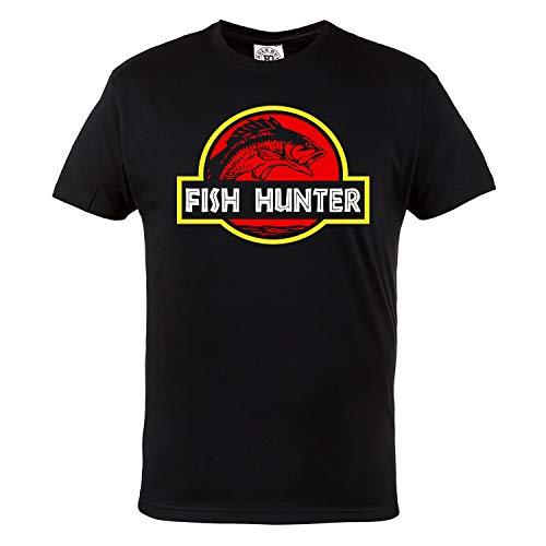 Rule Out Herren Casual T-Shirt. Fish Hunter. Angeln. Fischen T-Shirt. Schwarz (Größe XXLarge)