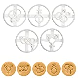 Set of 5 LGBTQ Symbol cookie cutters (Designs: Lesbian, Gay, Bisexual, Transgender, and Genderqueer), 5 pieces - Bakerlogy