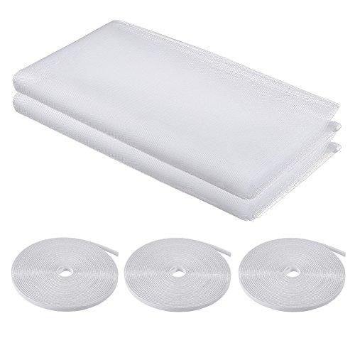 ATPWONZ 2 pcs Mallas Mosquiteras para Proteger Ventanas Anti Insectos 130 x 150 cm con 3 Volúmenes Velcro (Blanco)