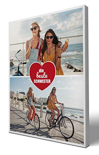 wandmotiv24 Leinwandbild Beste Schwester, Hochformat 30x40cm (BxH), Collage 2 Fotos, Geschenkidee für Frauen, Ihre Bilder auf Leinwand, originelle Geschenke für Schwestern Dankeschön M0023