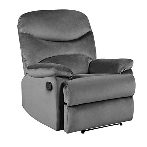 Warmiehomy Recliner Chair Comfy Velvet Single Reclining Sofa Armchair with Footrest and Armrest for Lounge Cinema Living Room Home Office (Grey, Velvet)